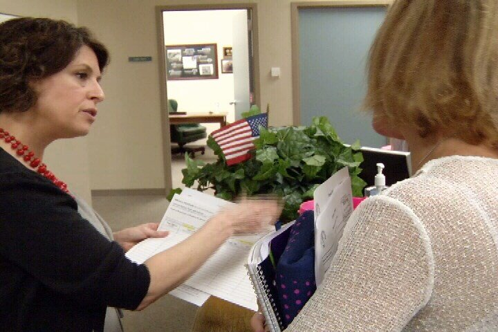 City Secretary Rebecca Huerta explained to Tiner how to start a city petition Monday morning.