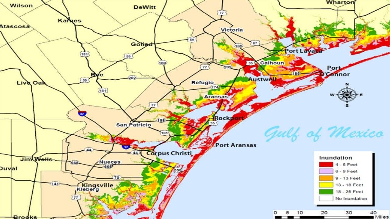 Storm Surge map for the Coastal Bend. (FEMA)