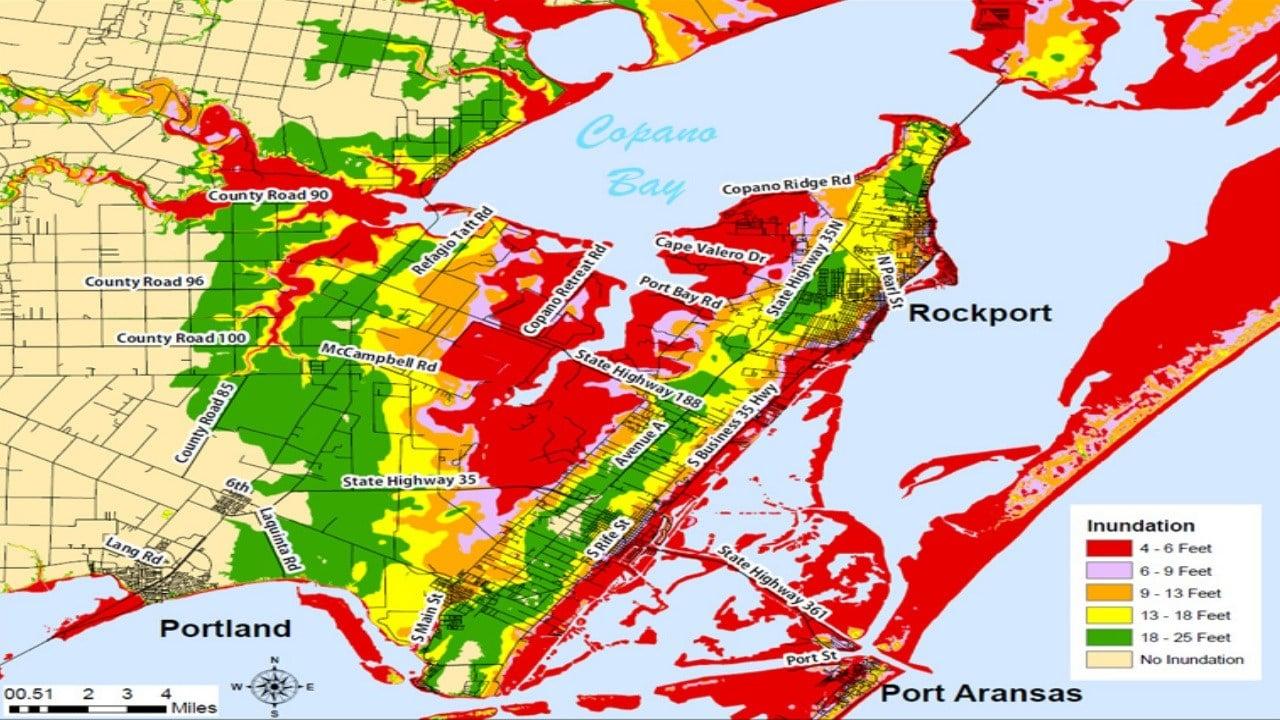 Storm Surge map for Copano Bay (FEMA)