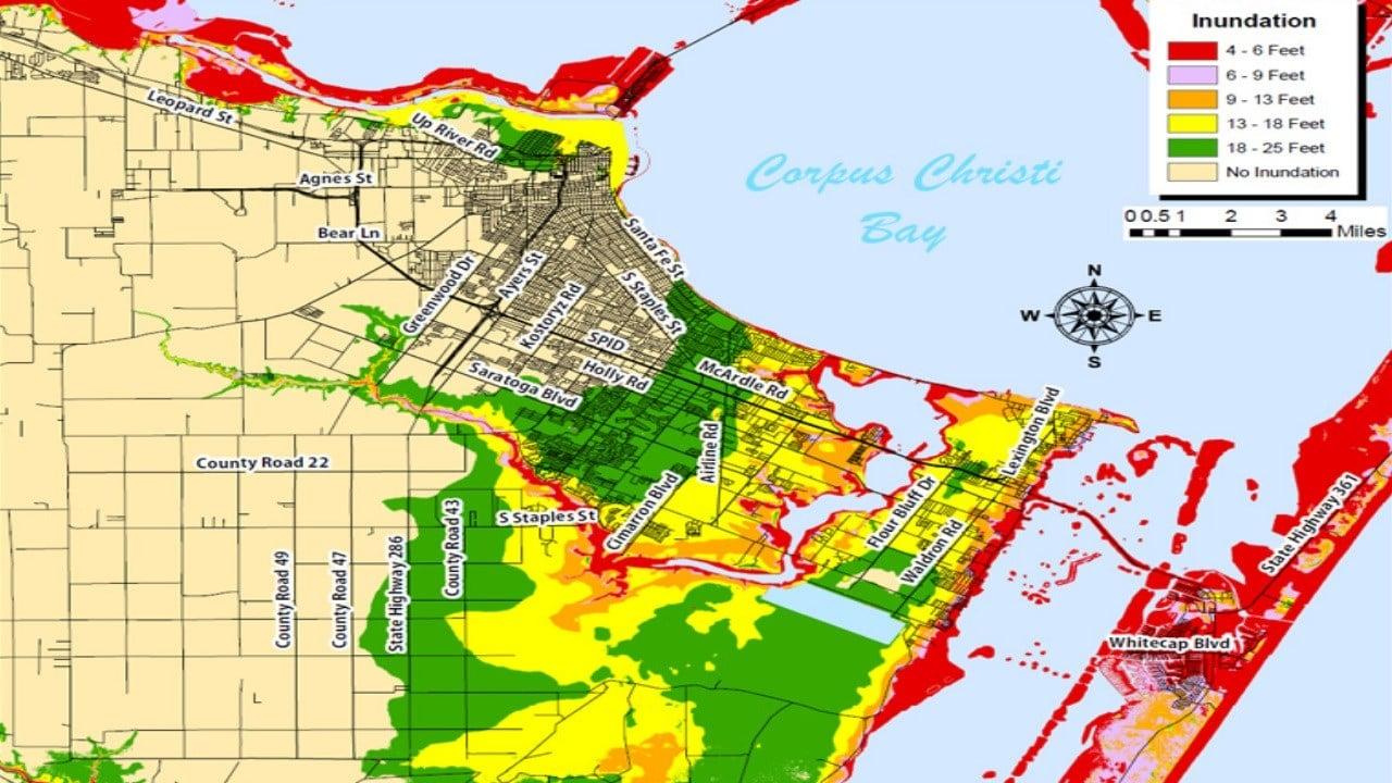 Storm Surge map for Corpus Christi Bay (FEMA)
