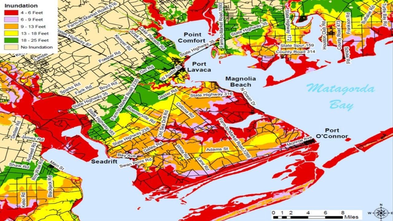 Storm Surge map for Matagorda Bay (FEMA)