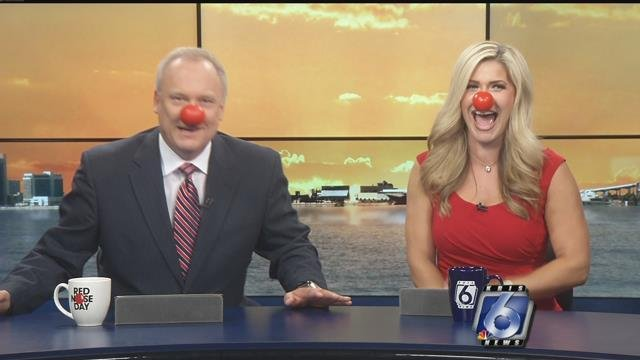 Mike and Rachel are ready for Red Nose Day.