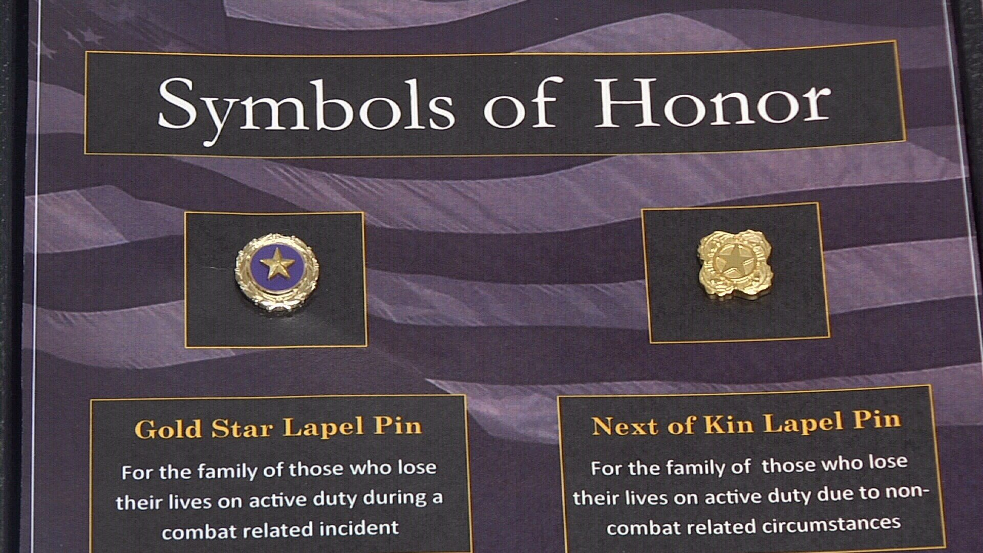 These are the symbols of honor worn by the family members of the fallen heroes.