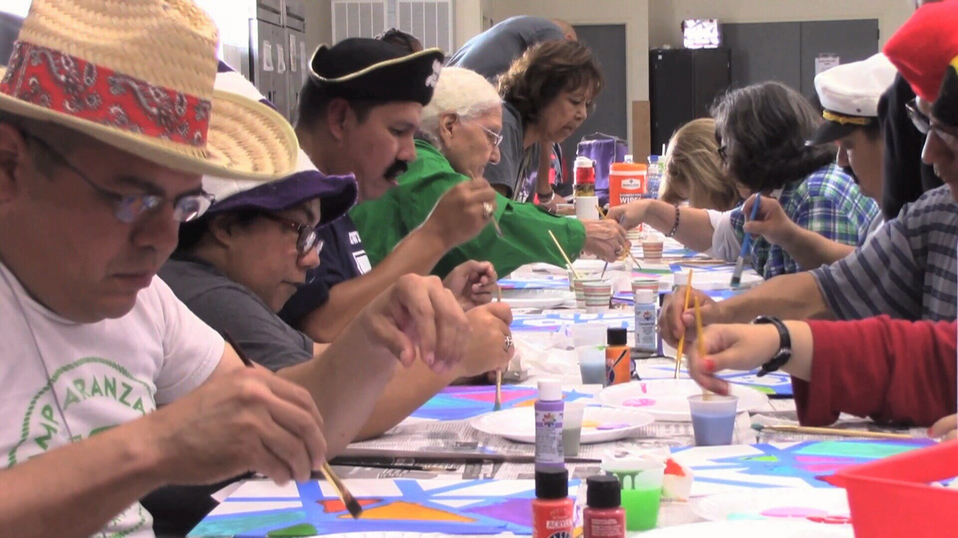 A recent painting class at Catholic Charities