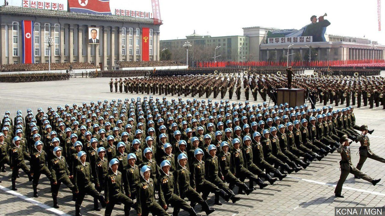 Soldiers march in a military parade on the centenary of the birth of Kim Il Sung in Pyongyang, North Korea, Photo Date: 4/15/2012