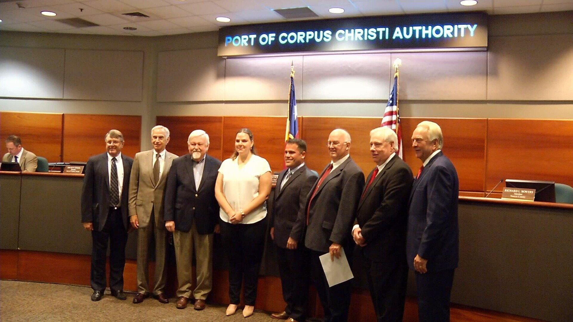 Captain Andrea Morrison took photos with the Port Commission after she was appointed.