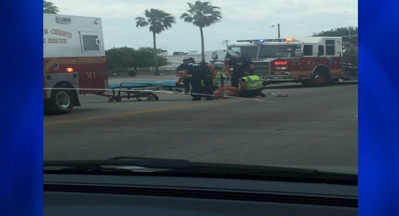 A 57-year-old woman is hospitalized after being struck by a car. (KRIS 6 NEWS)