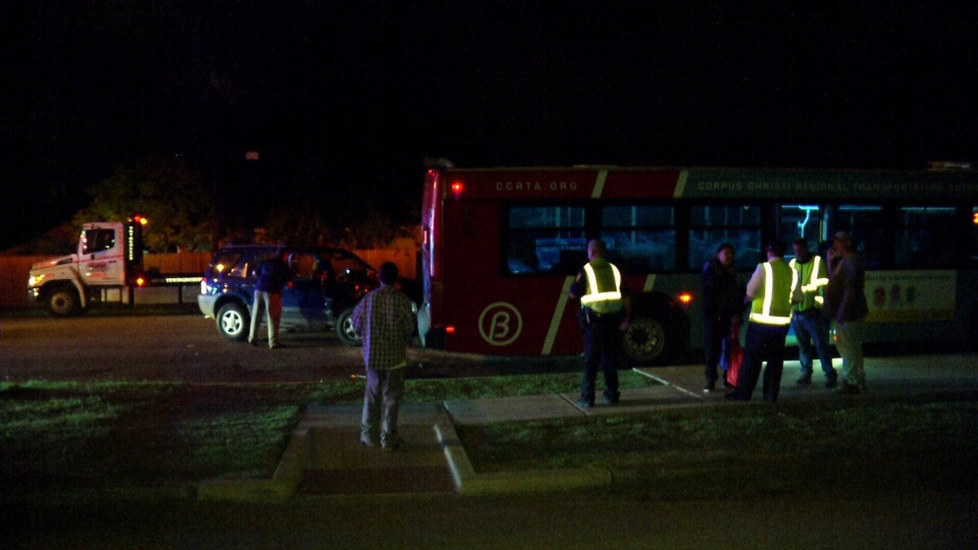 Several people were reportedly on board the bus when the crash occurred.