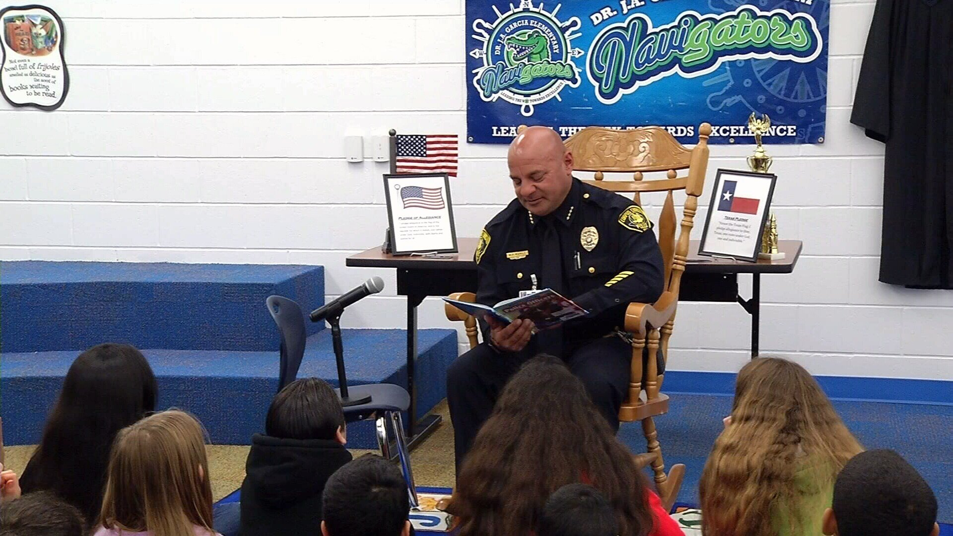 Corpus Christi Police Chief Mike Markle read to several students at Dr. J.A. Garcia Elementary Thursday morning.