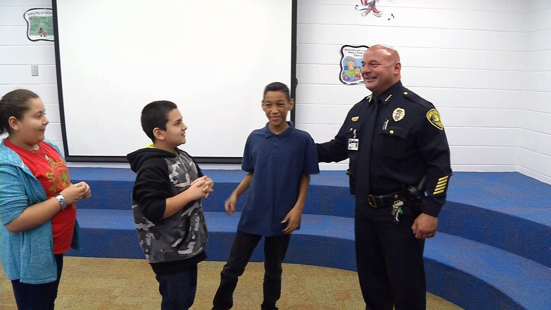 The students got to meet with the chief after Thursday morning's reading.