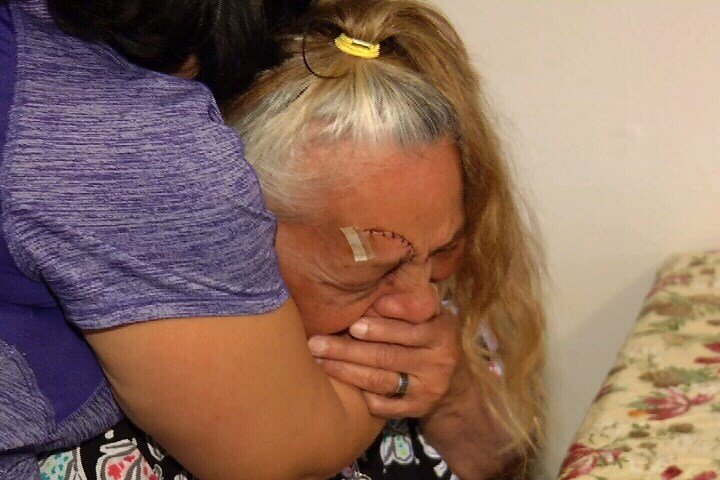 Velia Hernandez, 69, suffered serious injuries in a random attack that was caught on surveillance video.