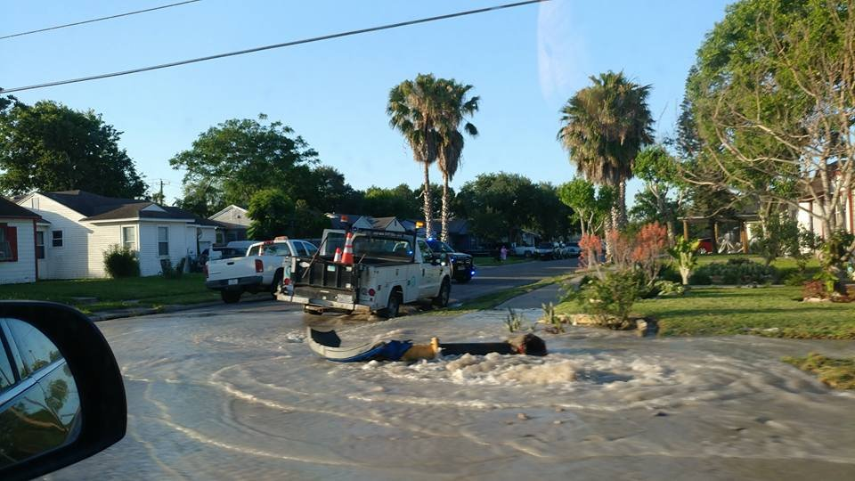 CCPD and water department employees respond to a crash Wednesday evening. (Courtesy: Augustine De La Garza)