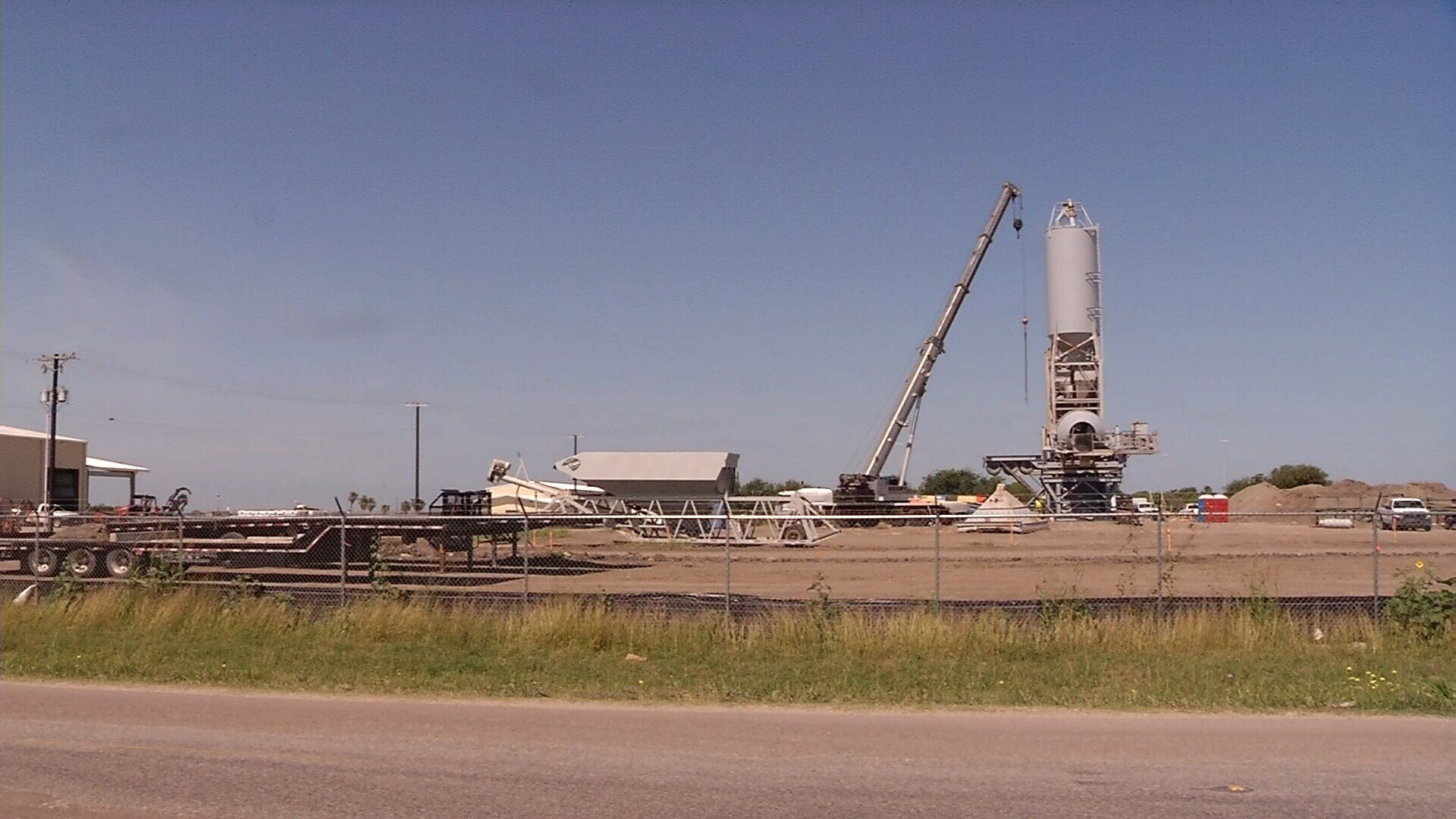 The concrete batch plant on Flato Road will mix all the concrete for the new Harbor Bridge.