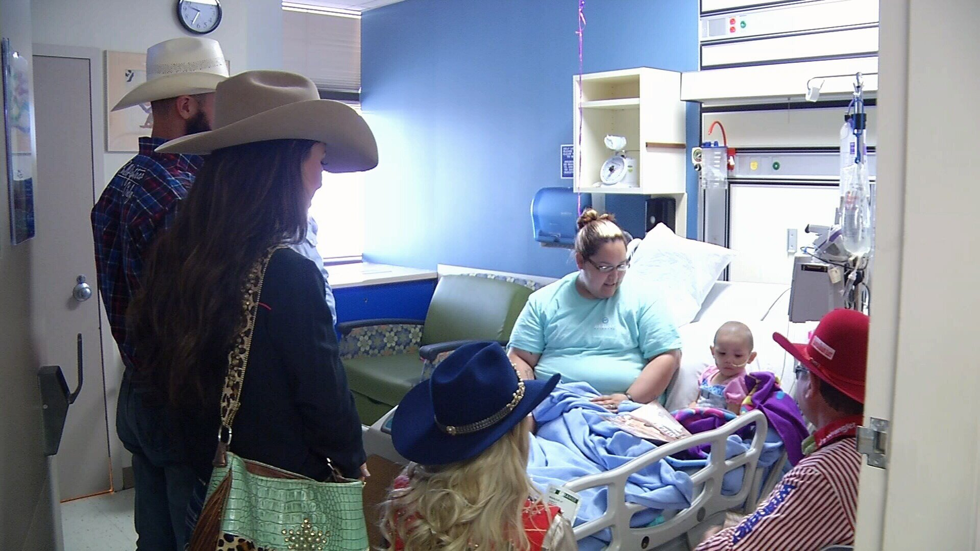 The bullfighters, rodeo queens and clown taking part in the Buc Days Rodeo visited with patients at Driscoll Children's Hospital Friday morning.