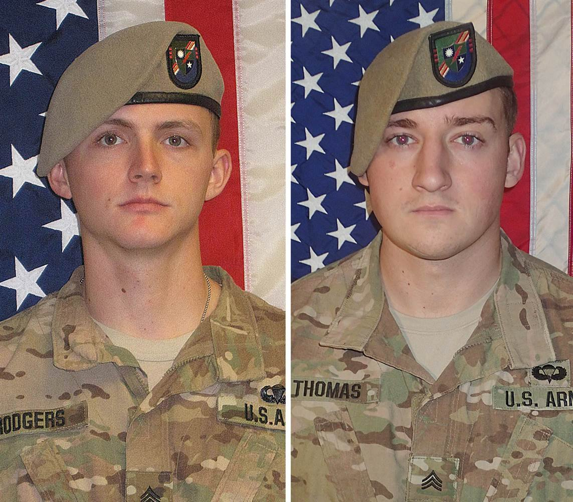 Sgt. Joshua Rodgers, left, and Sgt. Cameron Thomas were killed while conducting combat operations in Afghanistan. Photo courtesy U.S. Army.