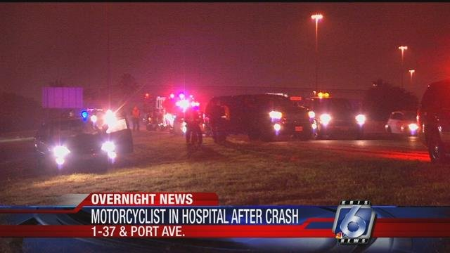 A motorcyclist is in the hospital, after crashing into a car.