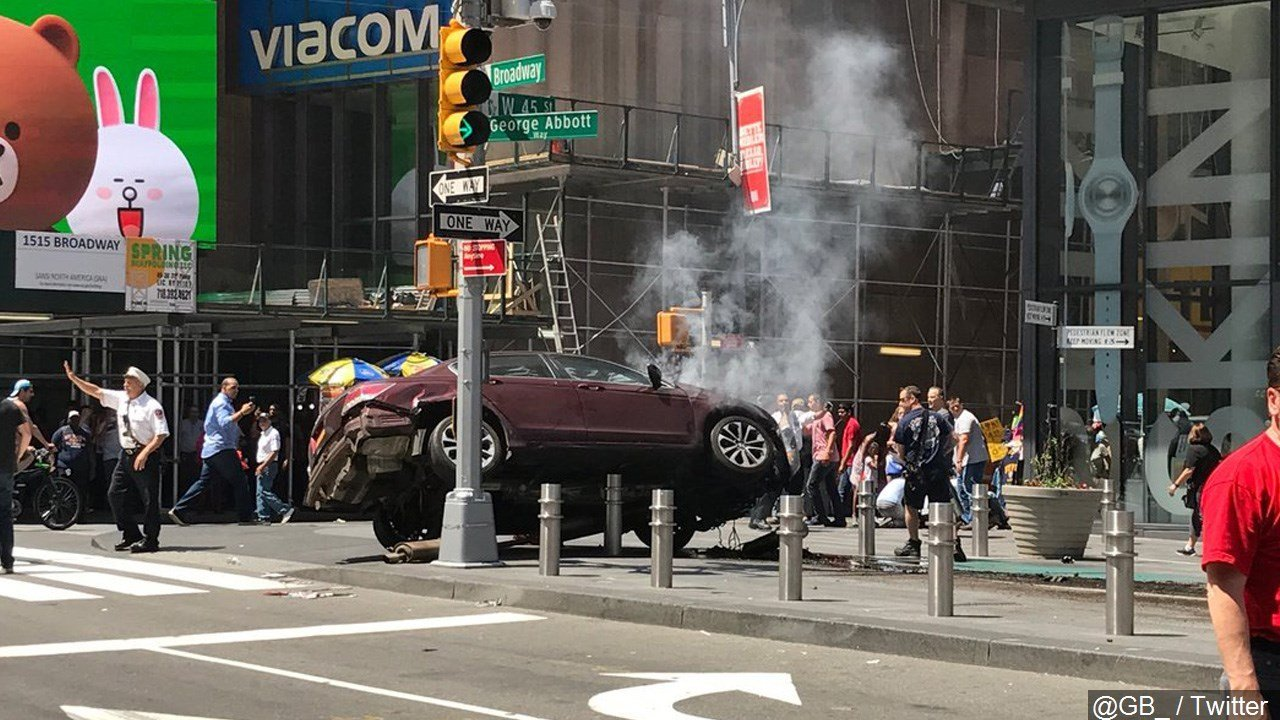 Car drives wrong way in Times Square, plows into pedestrians