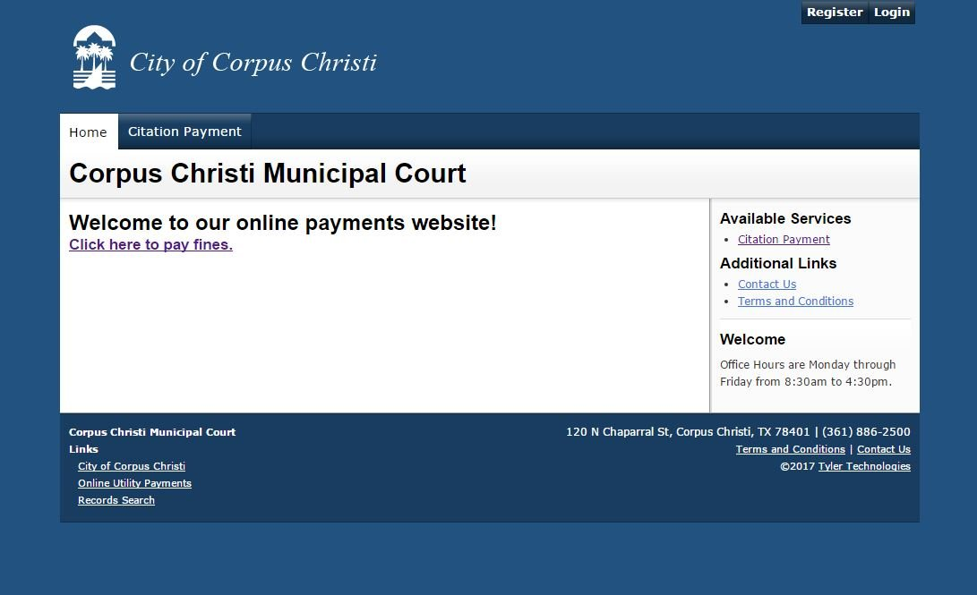 The Corpus Christi Municipal Court's online payment system for citations.