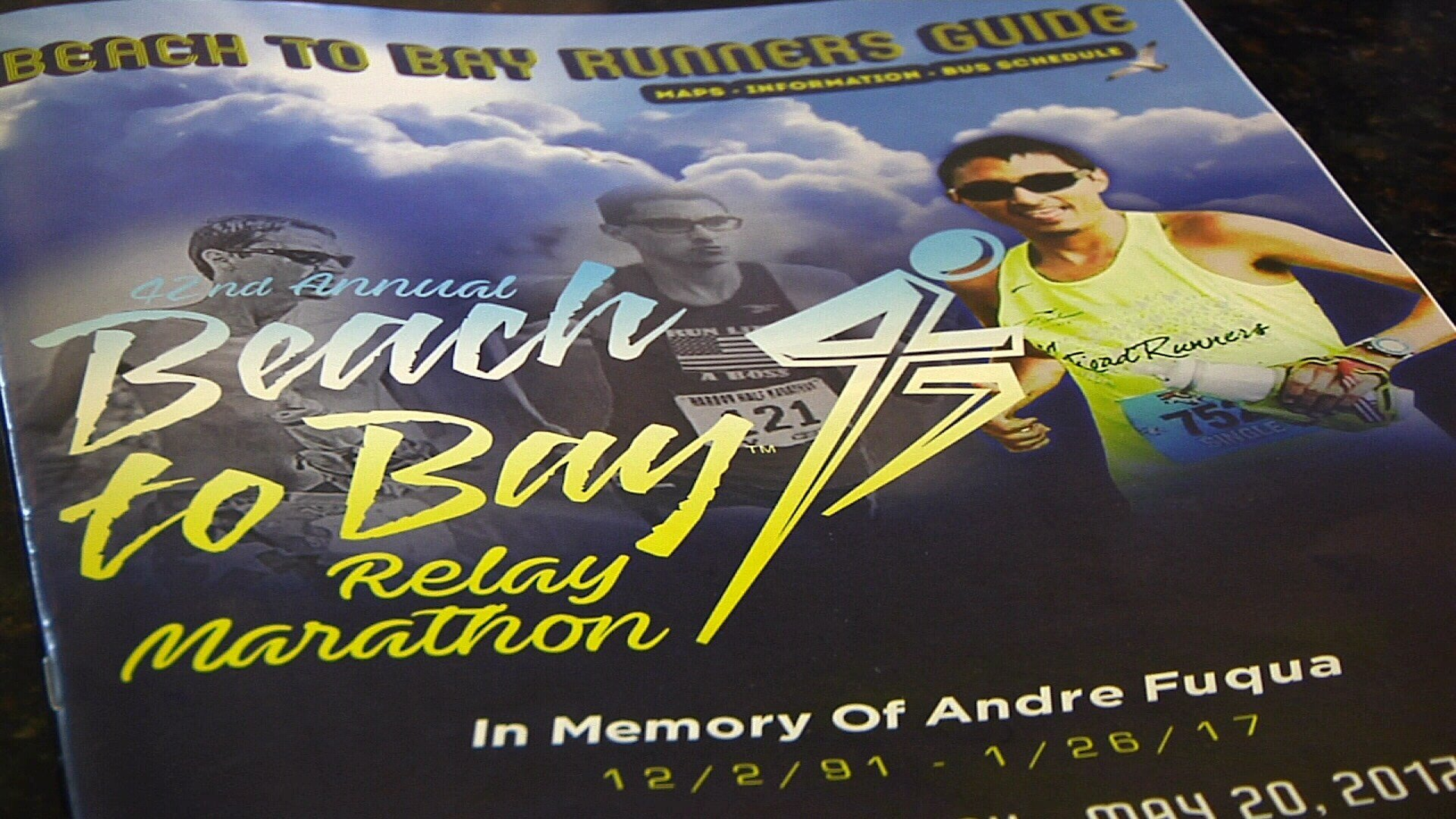 Beach to Bay organizers are honoring Andre Fuqua by placing his photo on the 2017 Beach to Bay program.