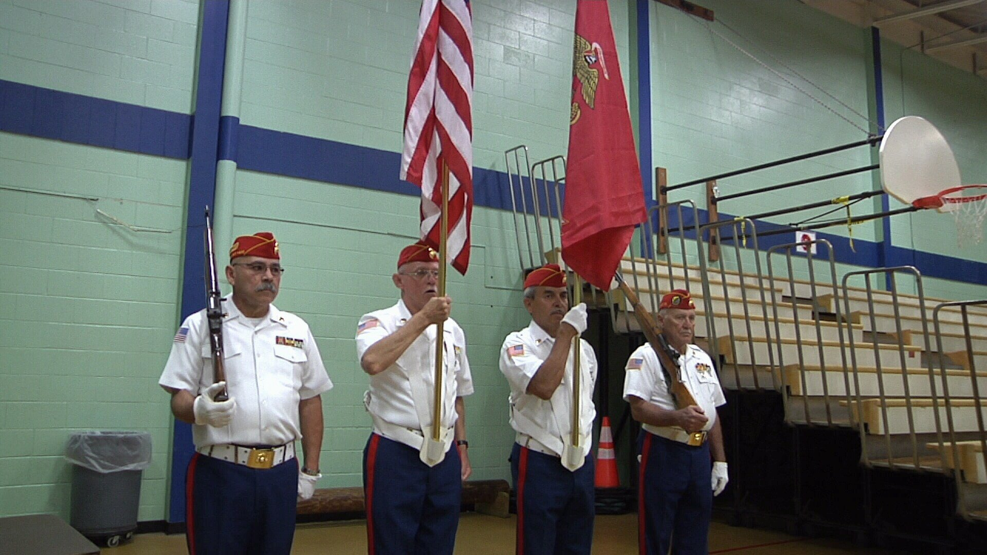 A color guard presented the nation's flags in honor of Armed Forces Day on Saturday.