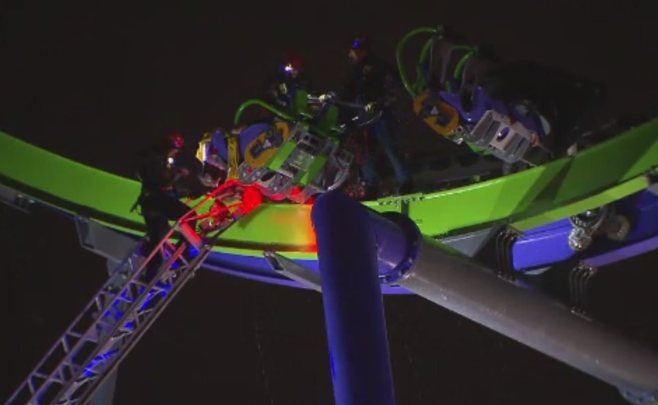 Eight passengers get stuck on Six Flags roller coaster hours before its official opening (Source: KTVT)