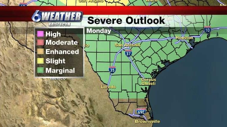 Storm Prediction Center Severe Outlook for Monday