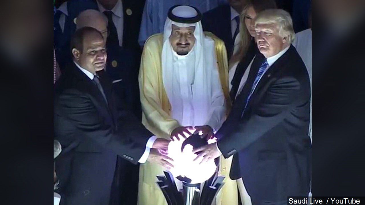 PHOTO: President Trump Put His Hands On A Glowing Orb In Saudi Arabia, Photo Date: 5/21/2017