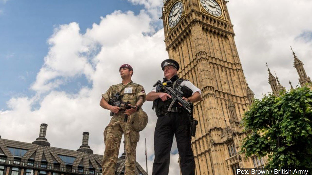 British Police and Soldiers provide security around the United Kingdom. Operation Temperer, Photo Date: 5/23/2017
