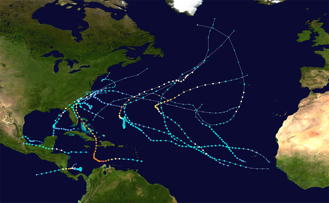 Storm tracks from the 2016 Hurricane Season