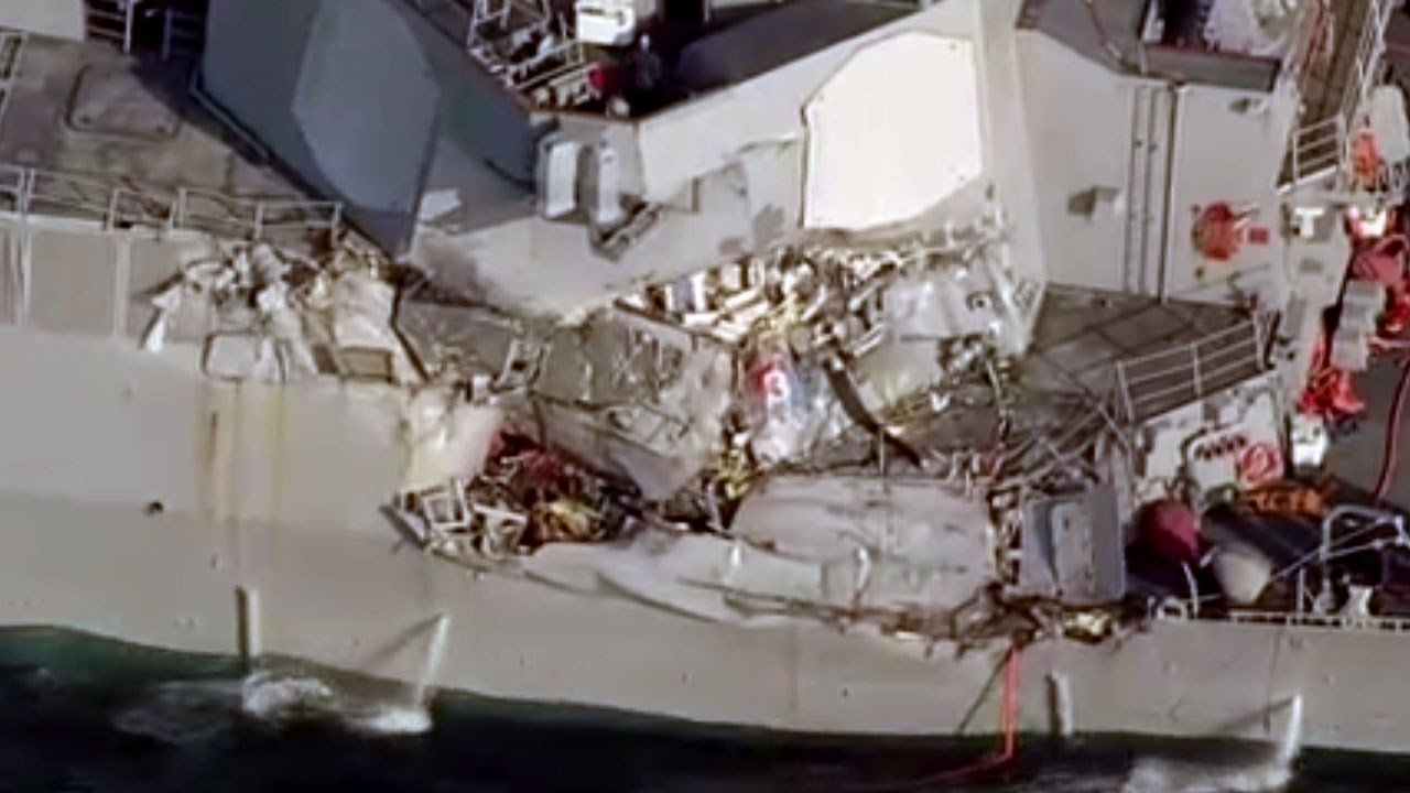 The bodies of seven U.S. sailors reported missing after the collision were found in damaged areas of the destroyer, according to the Navy. Photo: NHK