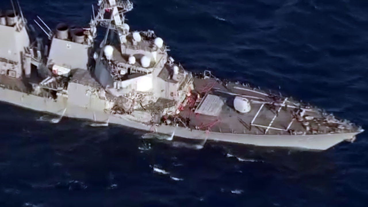 The USS Fitzgerald suffered significant damage after a collision with a merchant container ship four times its size. Photo: NHK