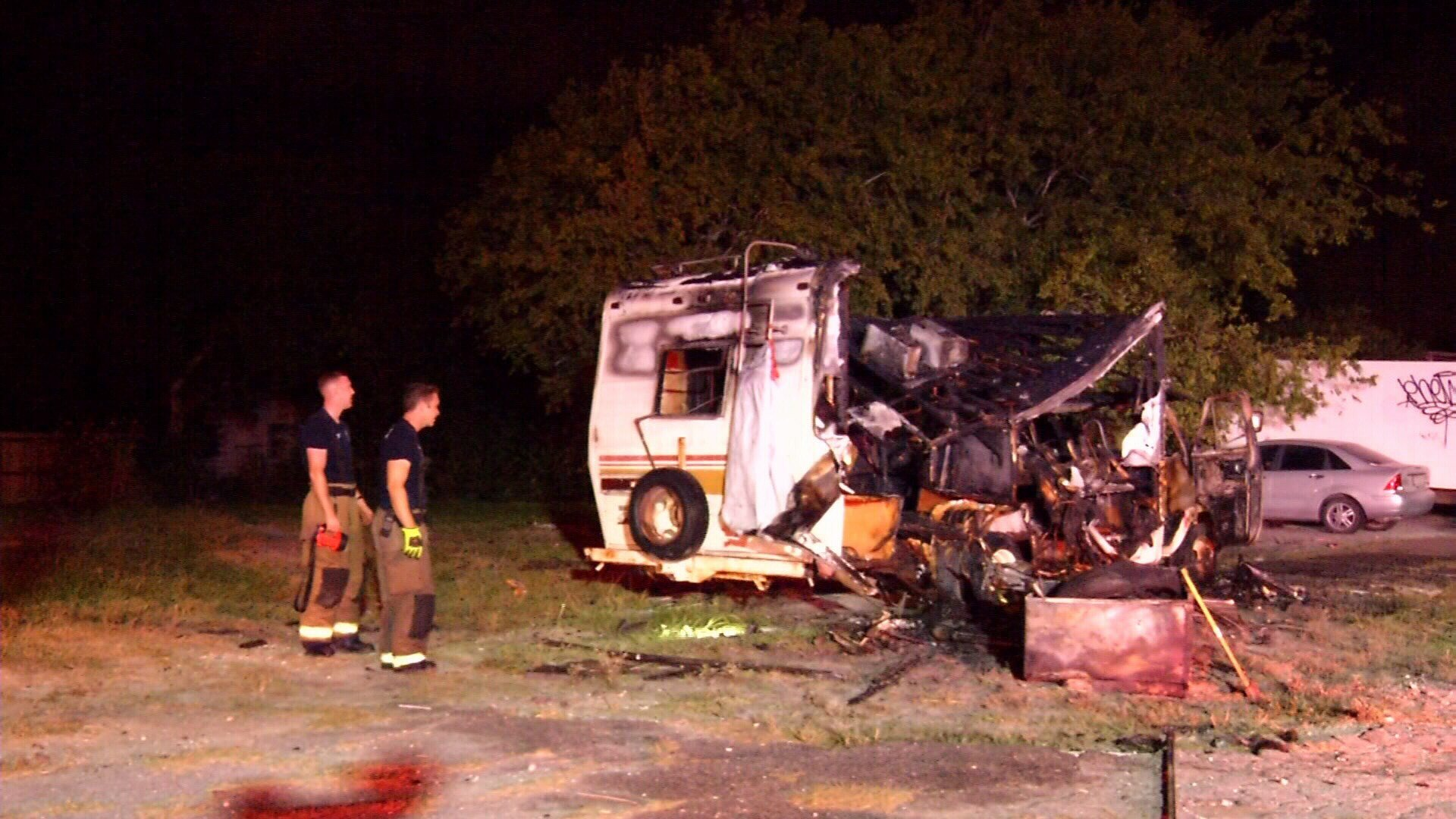 An RV was completely destroyed in an overnight fire.