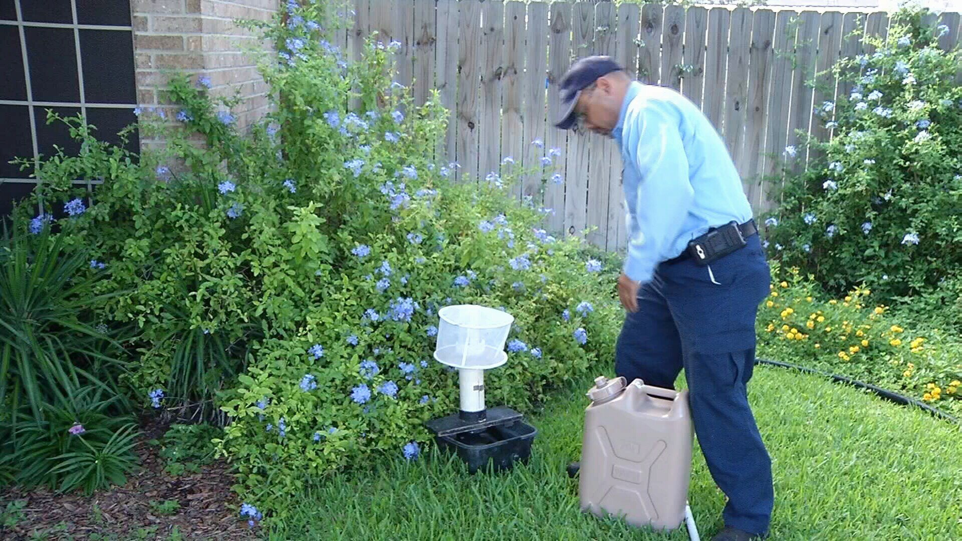 Vector Control crews spent Monday morning replacing the canisters in the Gravid mosquito traps across town.