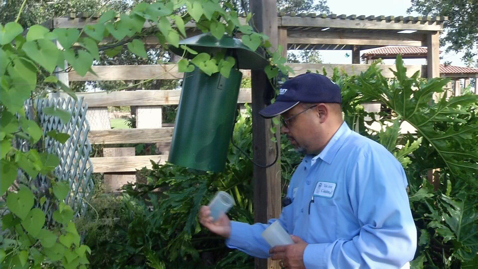 Vector Control officers also replaced the canisters in the New Jersey Light traps.