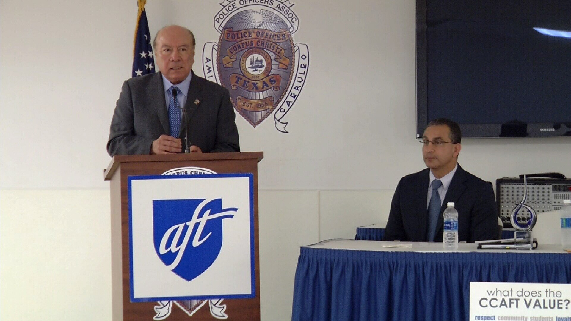 Sen. Juan 'Chuy' Hinojosa and Rep. Abel Herrero spoke to the American Federation of Teachers about the education items on the session agenda.