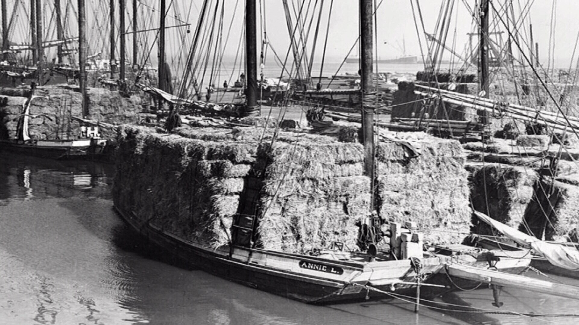 A scow schooner in the 1870's loaded with cargo