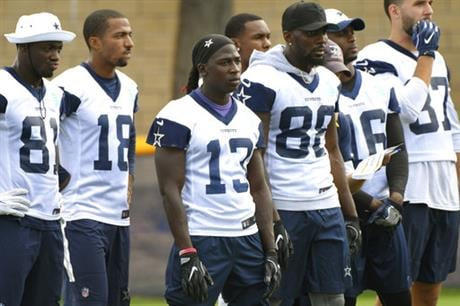 Dallas Cowboys wide receiver Lucky Whitehead (13) stands with fellow receivers during practice at the NFL football team's training camp in Oxnard, Calif., Monday, July 24, 2017.