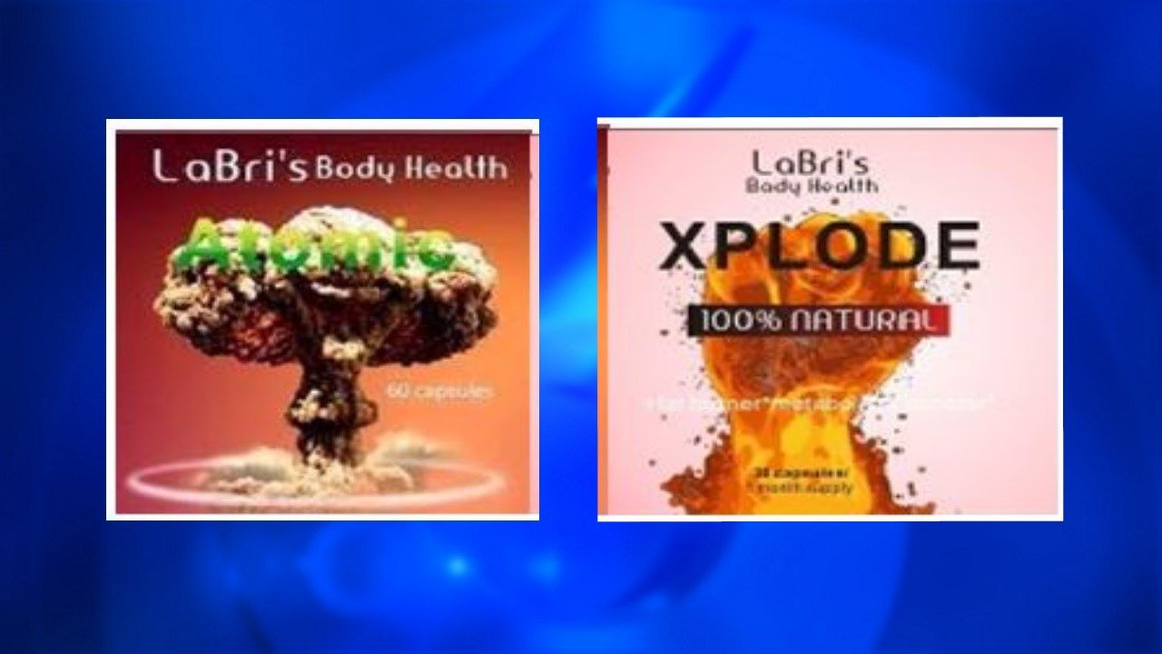 La Bri's Body Health Atomic and Xplode capsules are being recalled nationwide. (Courtesy FDA)