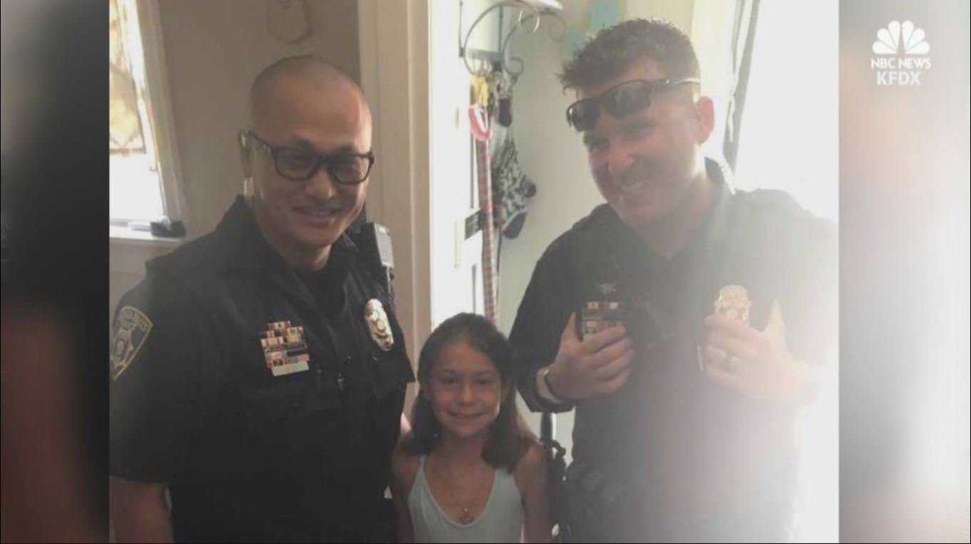 Officers came together to give a little girl back money that was stolen from her.