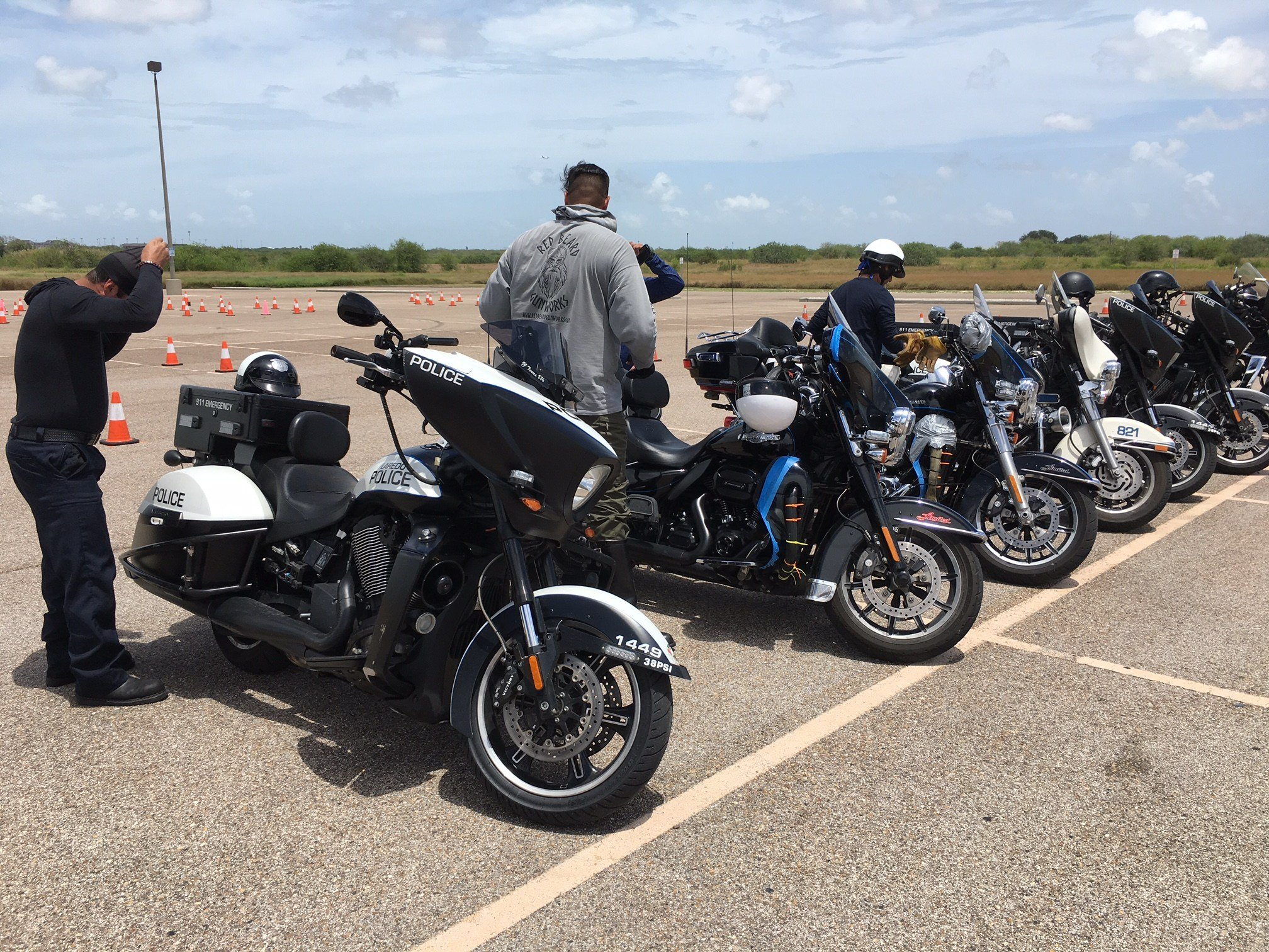 Officers lined up for training needed to certify them before hitting the road on two wheels.