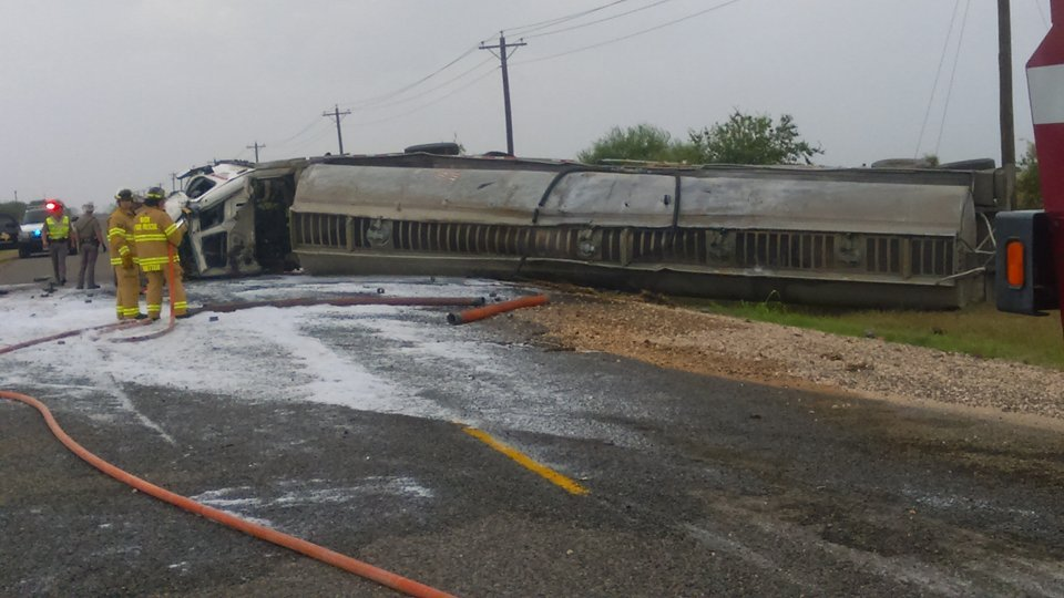 DPS said the tractor trailer appeared to have rolled over several times.