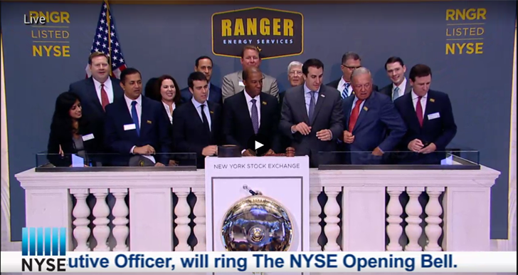 Darron Anderson rang the bell to open the NYSE on Friday. Photo: Ranger Energy Services, Inc.