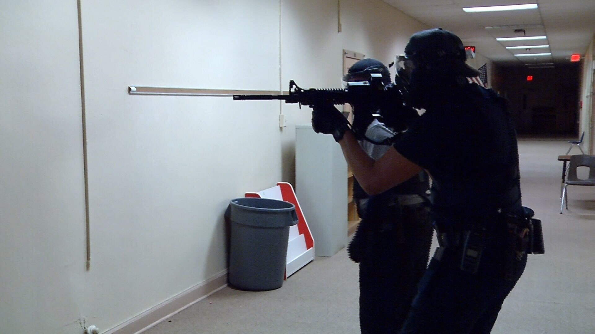 CCISD police officers go through active shooter training.