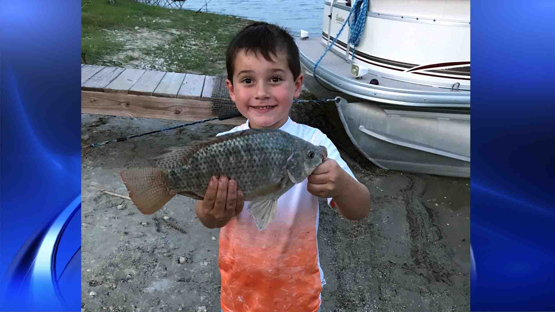 Jaxon Chadwick caught the record tilapia at Lake Corpus Christi Wednesday night.