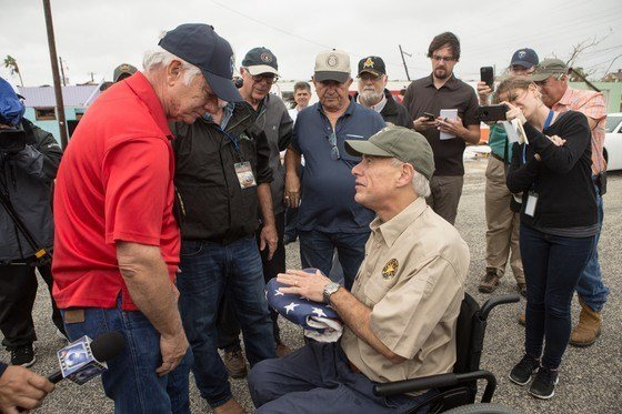 Governor Abbott visits with those affected by Hurricane Harvey. (File photo)