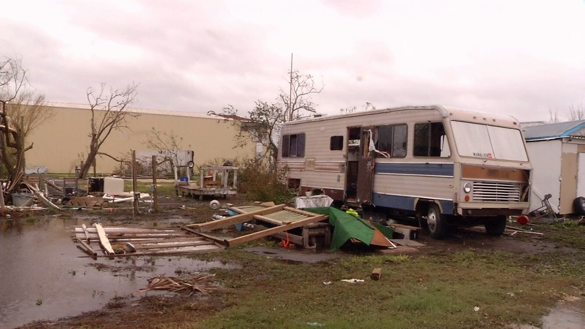 Damage to an RV in Ingleside.