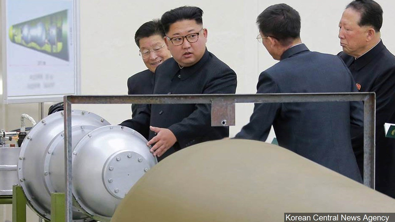 PHOTO: North Korea leader Kim Jong-un inspecting what is claimed to be a nuclear device, Photo Date: Sep. 2017