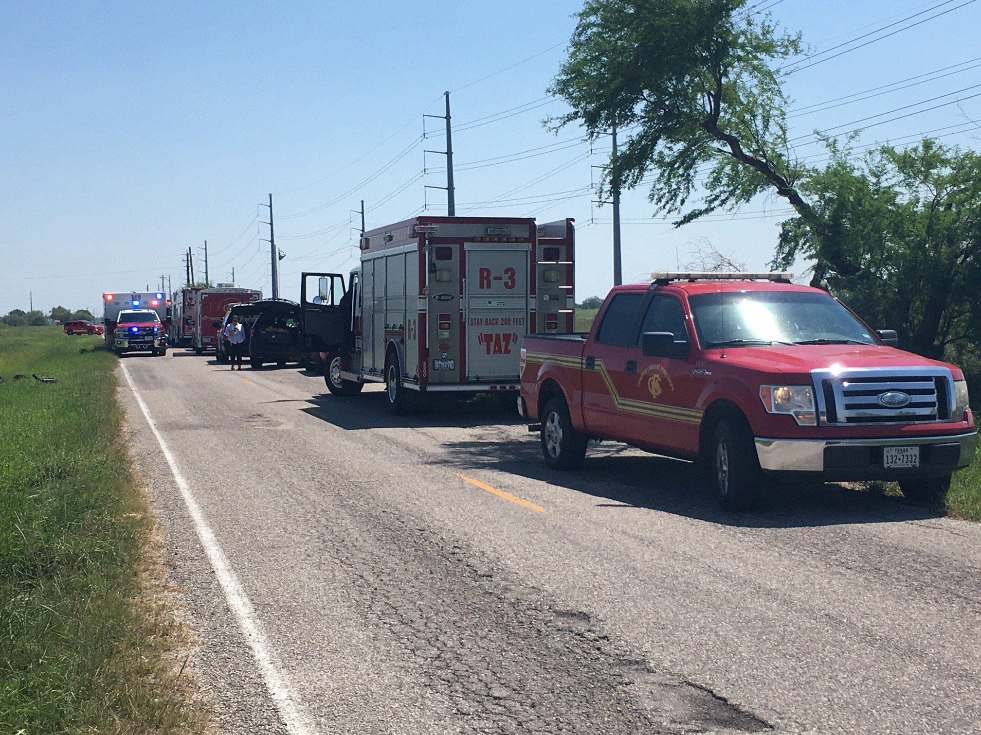 Emergency crews, including hazmat, are on the scene of a possible chemical leak.