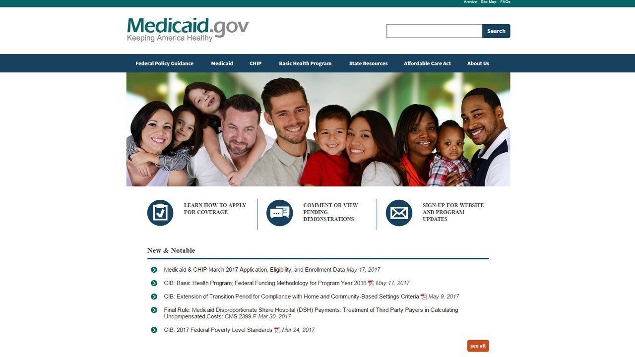 PHOTO: Medicaid home page (Medicaid.gov)