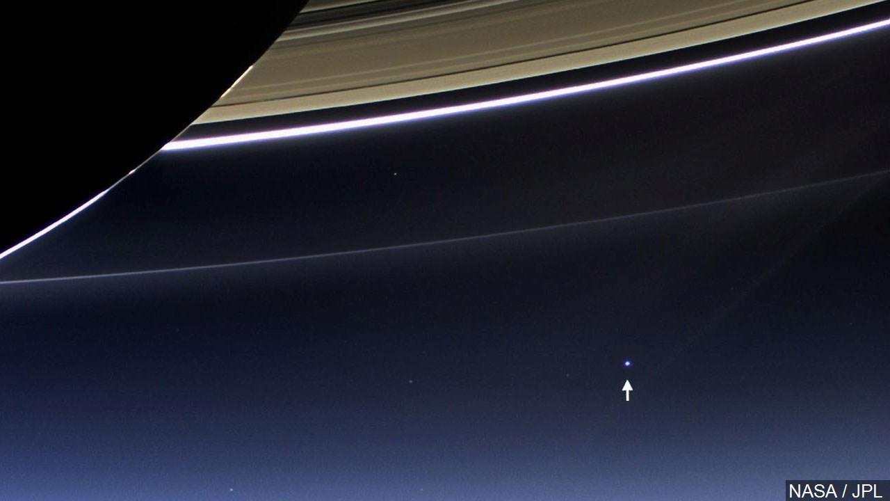 Earth as seen from orbit above Saturn taken by Cassini
